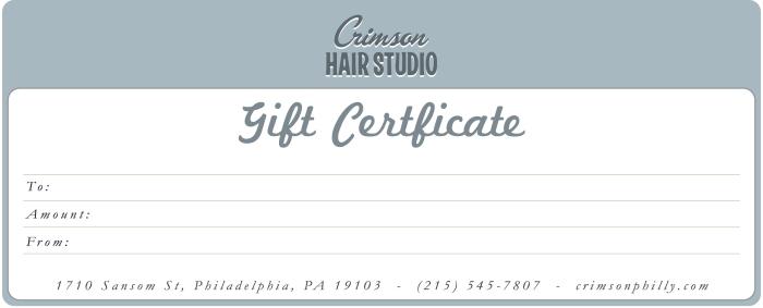 Crimson Gift Certificate